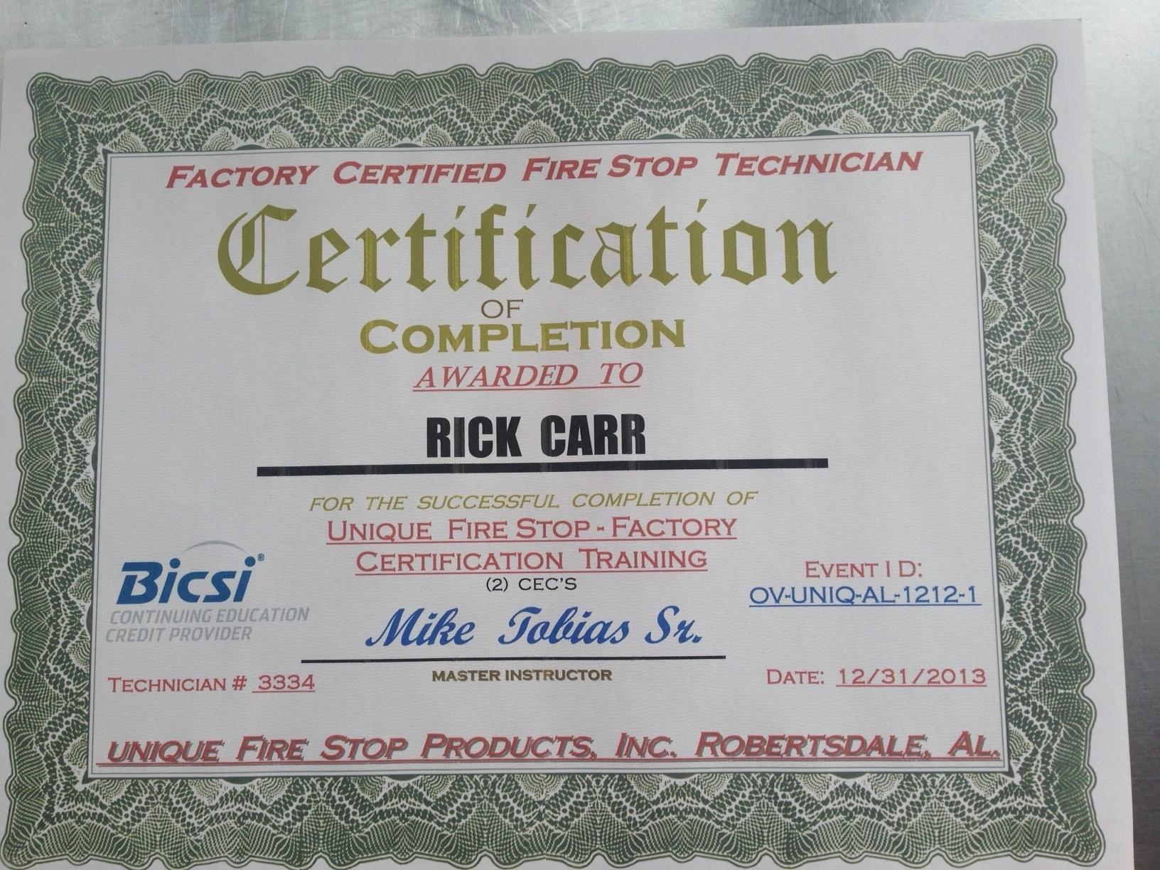 firestop certified installers